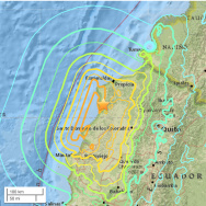 USGS map of the recent earthquakes and aftershocks in Ecuador.