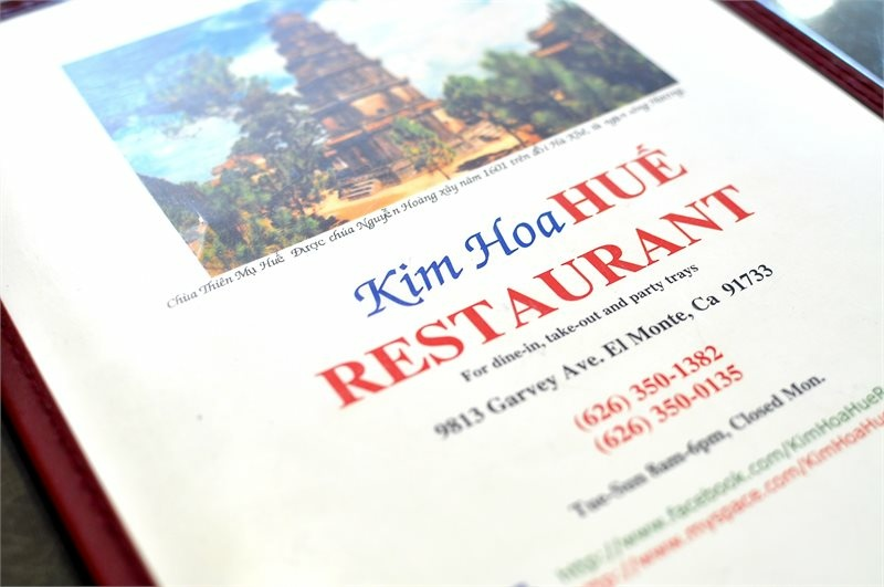 The menu at Kim Hoa Hue Restaurant.