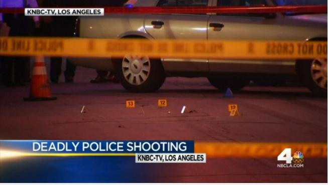 Screenshot from NBC4 report on officer-involved shooting in Long Beach on May 7, 2016. Officers shot and killed a man who they said was carrying what turned out to be a pellet-gun replica of an Uzi-style assault rifle.
