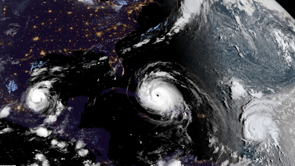 A satellite image captures the Atlantic hurricanes on Friday.