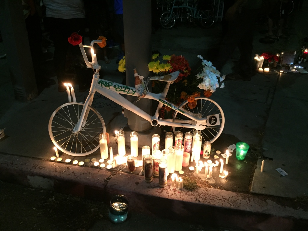 FILE: A ghost bike marks the spot on North Figueroa Street where 31-year-old Jose Luna was killed while riding his bike in a hit-and-run crash on June 26, 2015.