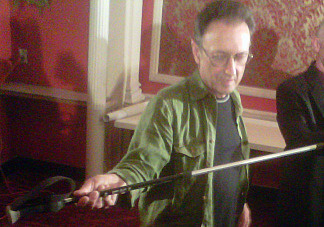 Edward Rosenthal shows off the walking stick he says helped save his life while he was lost in Joshua Tree National Park for six days without food or water.