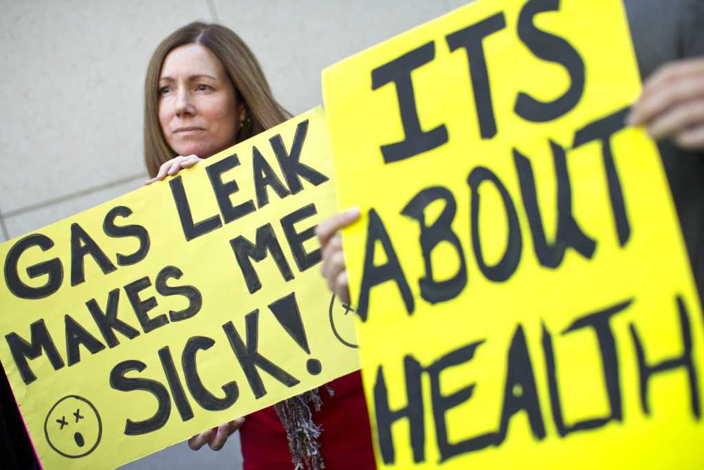 Porter Ranch resident Michelle Theriault takes part in a press conference on a gas leak in Porter Ranch after a regular Los Angeles County Board of Supervisors meeting on Tuesday, Nov. 24, 2015.