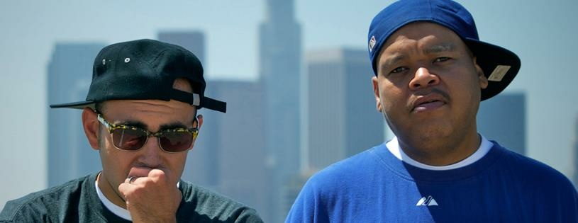 Double K (Michael Turner) and Thes One (Christopher Portugal) of the hip-hop duo, People Under The Stairs.