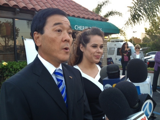 Paul and Valerie Tanaka outside Cherrystones Restaurant in Gardena on primary election night Tuesday, June 3, 2014.