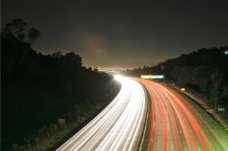 Sepulveda Pass of I-405 at night, no traffic.