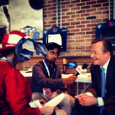 Instagram picture of Patt Morrison interviewing White House Press Secretary Robert Gibbs with producer Raghu Manavalan at the 2012 Democratic National Convention.
