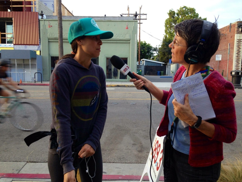 KPCC's political reporter Sharon McNary interviews Venice resident Jena Goodman Wednesday, October 15.
