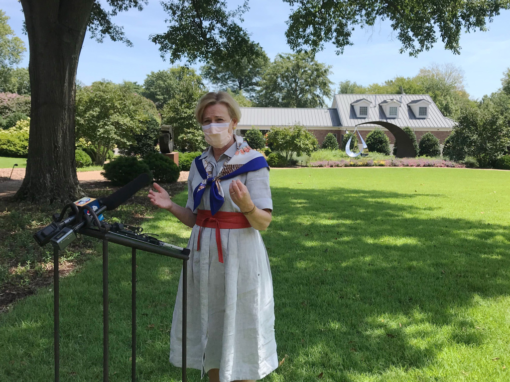 Dr. Deborah Birx speaks to reporters this week outside the Arkansas Governor's Mansion in Little Rock. Birx indicated that data on U.S. COVID-19 hospitalizations will move back to the CDC under a
