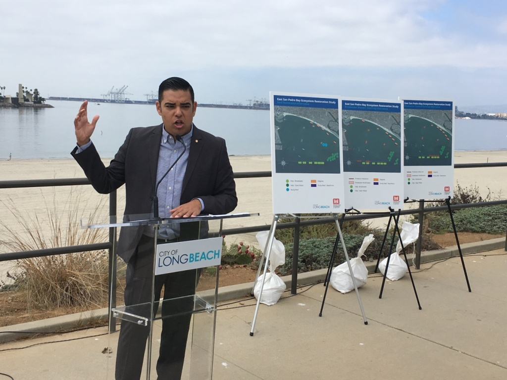Long Beach Mayor Robert Garcia announcing proposals to improve the Long Beach harbor's ecosystems, on September 24th 2018.