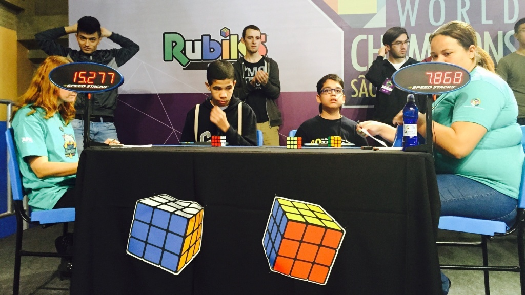 The Rubik's Cube world championships were held in Sao Paulo, Brazil, over the weekend, drawing participants from more than 40 countries. The winner completed his cube in 5.69 seconds.