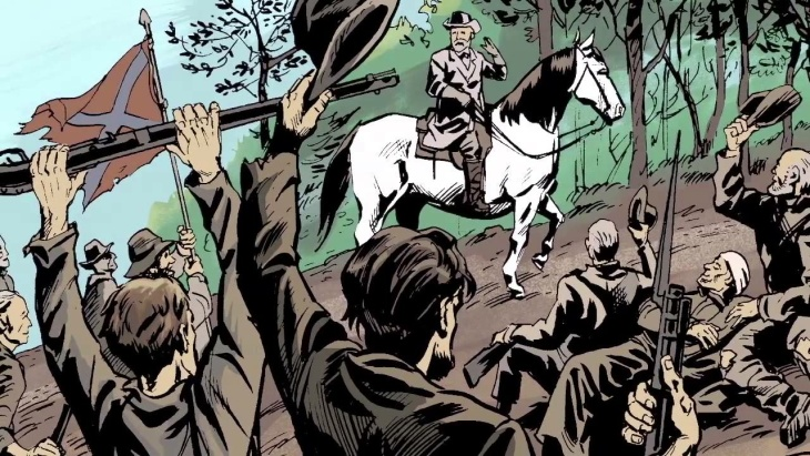 Scene from The Gettysburg Address where Confederate General Robert E. Lee greetis his soldiers.