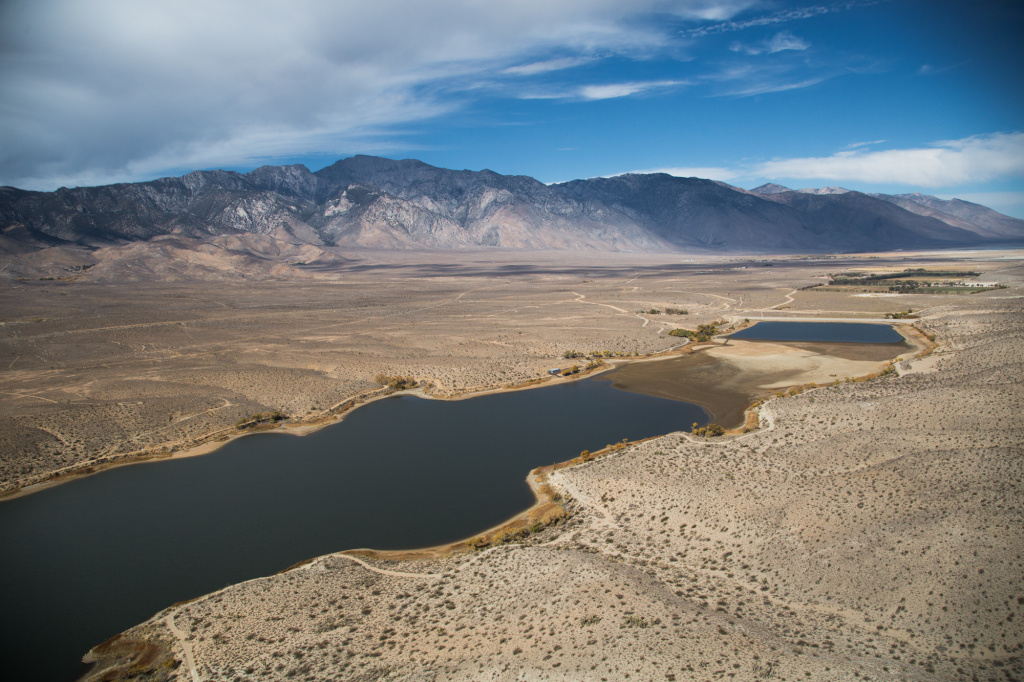 Water from the Los Angeles Aqueduct flows into the Haiwee Resevoir, which is about 200 miles northeast of Los Angeles. The reservoir is maintained by the Los Angeles Department of Power and Water.
