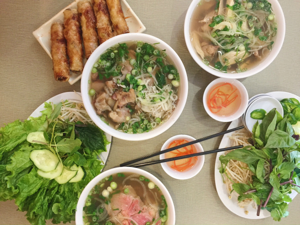 Pho and egg rolls (cha gio) at Golden Deli in Temple City. (Elina Shatkin/LAist)
