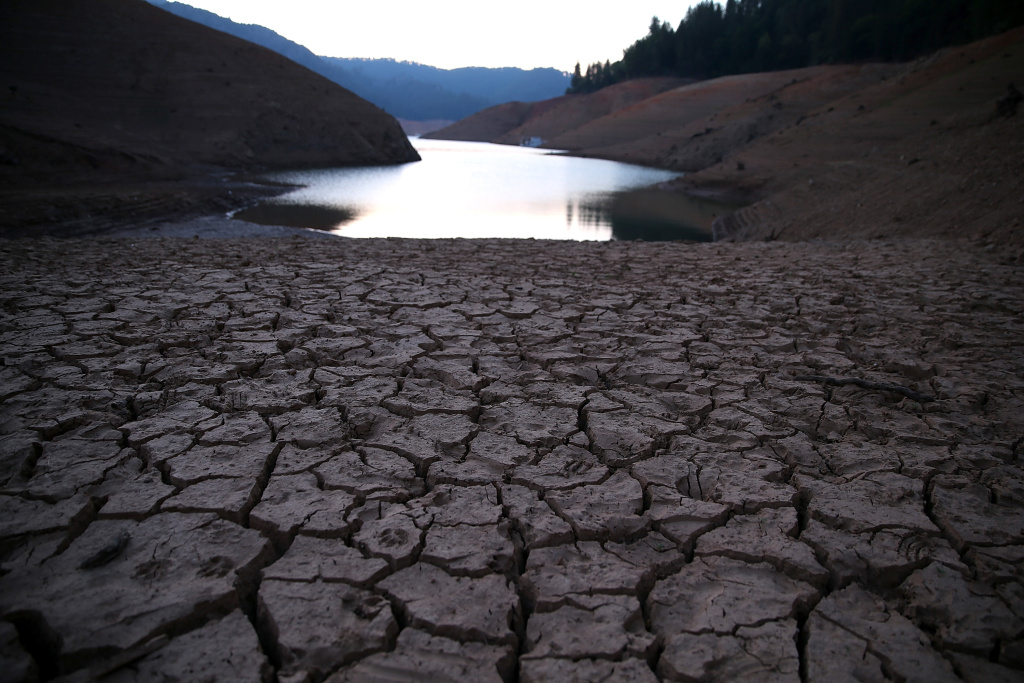 Dry cracked earth is visible on the banks of Shasta Lake at Bailey Cove Aug. 31, 2014 in Lakehead, California. As the severe drought in California continues for a third straight year, water levels in the State's lakes and reservoirs are reaching historic lows.