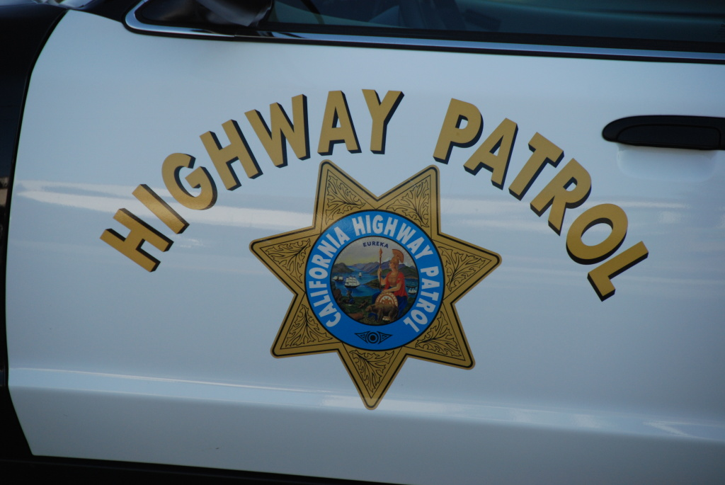A CHP squad car door, photographed in Monterey County.