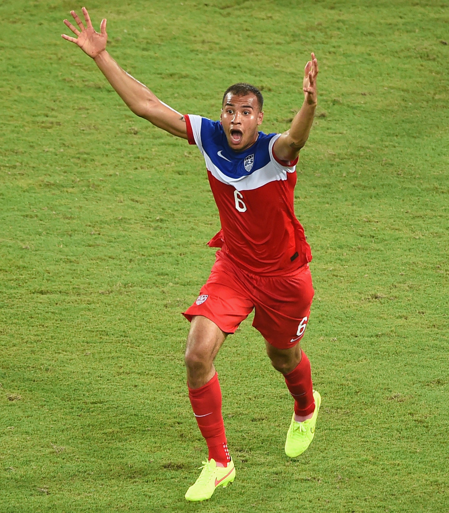 John Brooks of the United States celebrates after scoring his team's second goal during the 2014 FIFA World Cup Brazil Group G match between Ghana and the United States.