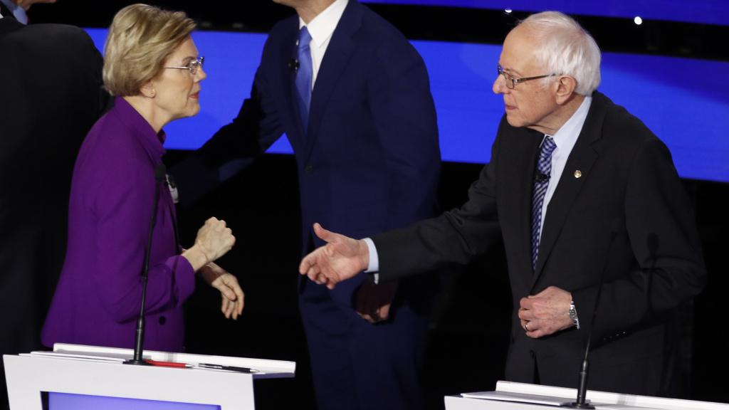 Democratic presidential candidate Sen. Elizabeth Warren, left and Sen. Bernie Sanders, I-Vt. after Tuesday's debate.