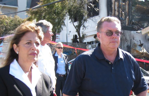 Congresswoman Jackie Speier and San Bruno Mayor Jim Ruane at the explosion site.