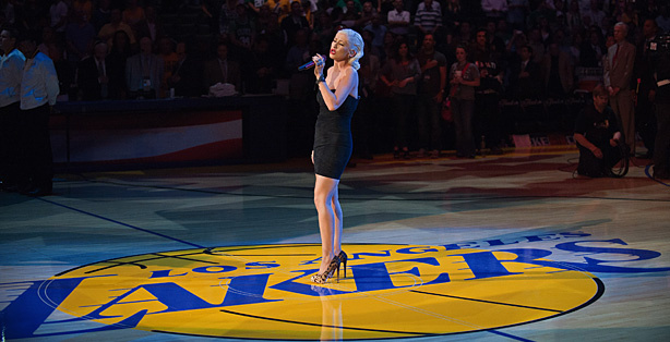 Singer Christina Aguilera sings the national anthem before Game 6 of the 2010 NBA Finals between the Los Angeles Lakers and the Boston Celtics at Staples Center on June 15, 2010 in Los Angeles, California.