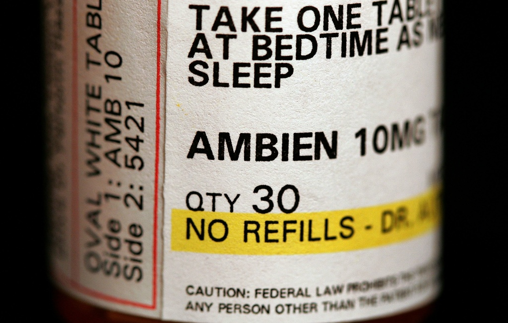 A bottle of Ambien, one of the popular sleep aids available for people who need help battling insomnia.