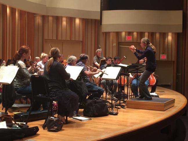Karina Canellakis rehearses with the Los Angeles Symphony Orchestra.