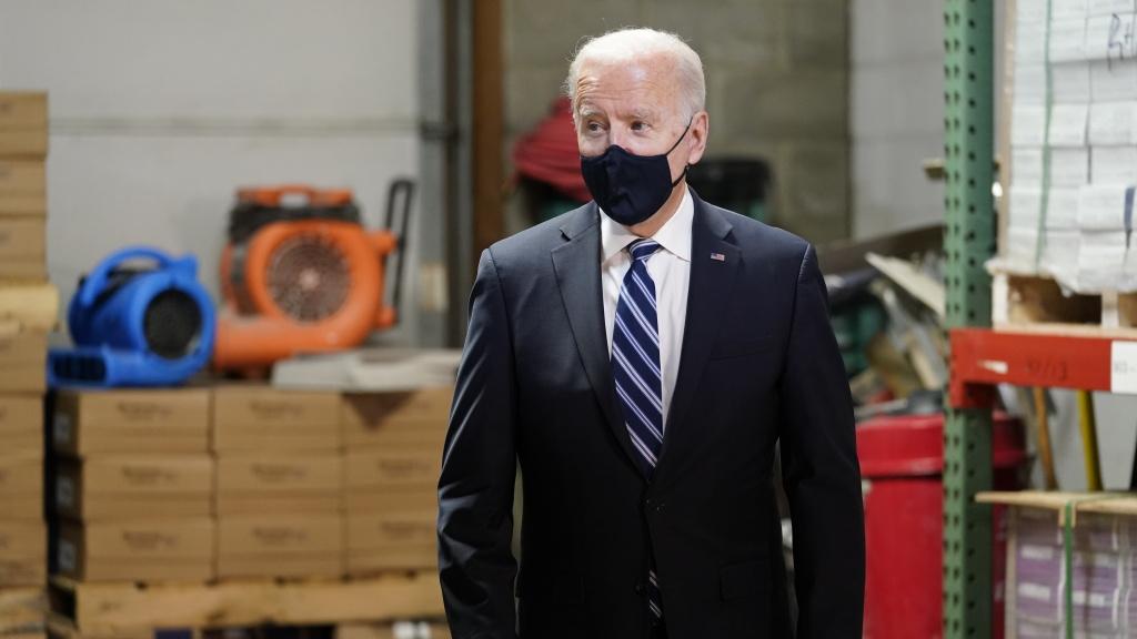 President Joe Biden at Smith Flooring, Inc., in Chester, Pa., Tuesday