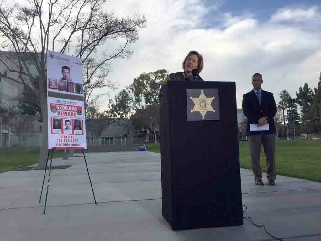 Orange County Sheriff Sandra Hutchens speaks on Wednesday, Jan. 27, 2016 about the three people who escaped from an OC jail.