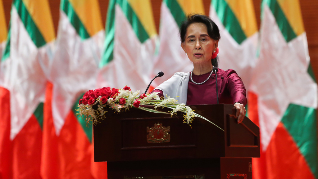 Myanmar's State Counselor Aung San Suu Kyi delivered a national address in Naypyidaw on Sept. 19, 2017. In her speech, Suu Kyi said she felt deeply for the suffering of all people caught up in conflict scorching through Rakhine state, her first comments on a crisis that also mentioned Muslims displaced by violence.