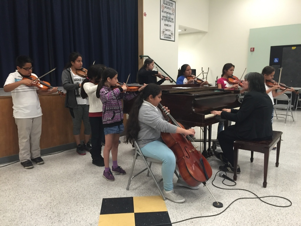 Throughout this school year, music teacher René Rowland has scrounged together enough instruments for 30 students. Some of these came from the district and some were donated to the school.