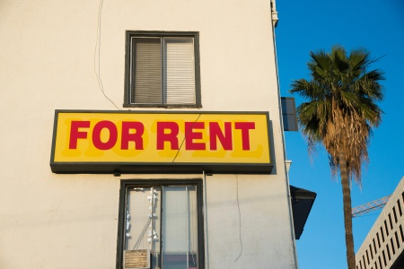 "A ""For Rent"" sign is seen on a building Hollywood, California, May 11, 2016."