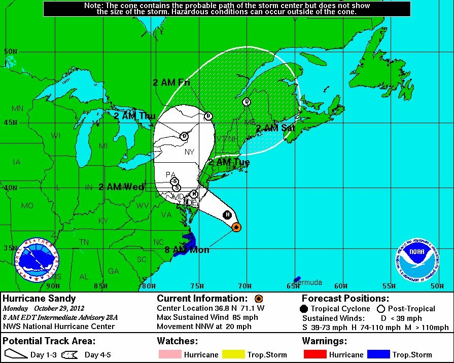 The forecast track of Hurricane Sandy at 6 a.m. Monday Pacific time.