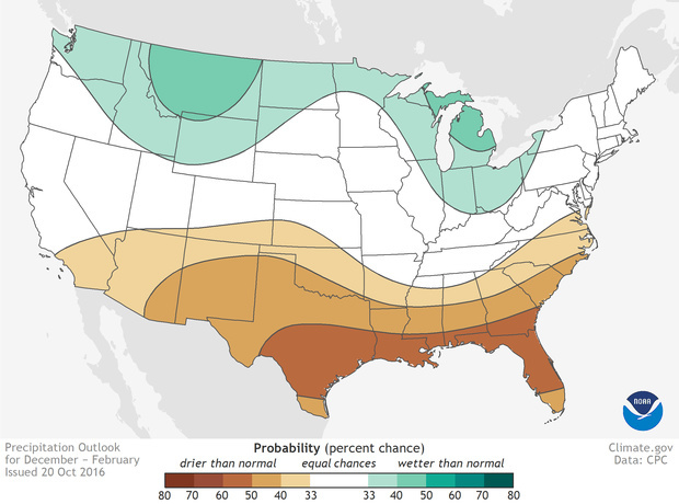 The 2016 winter precipitation prediction from the National Oceanic and Atmospheric Administration.