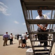 A man boards a jet chartered by U.S. Immigration and Customs Enforcement to take him and other immigrants to the U.S.-Mexico border to be deported in May, 2010. Immigrants who are convicted of serious crimes in the United States are typically deported. But there are exceptions. Those whose native countries will not take them back - or for whom U.S. authorities can't get travel documents - must eventually be released and remain in the U.S.