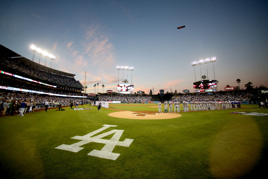 A general view during player introductions before game one of the National League Division Series between the Los Angeles Dodgers and the New York Mets at Dodger Stadium on October 9, 2015 in Los Angeles, California.