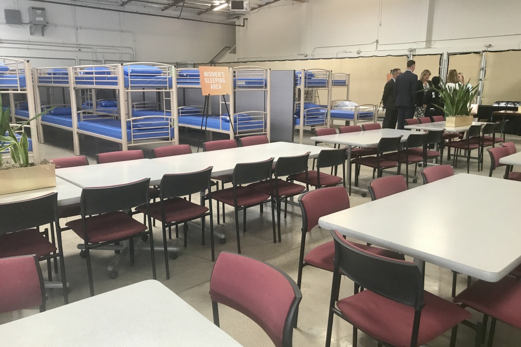 File photo of the Bridges at Kraemer Place homeless shelter when it was inaugurated in May, 2017. Tents have been set up in the shelter parking lot to provide emergency beds for people evicted from the Santa Ana River encampment in February, 2018.
