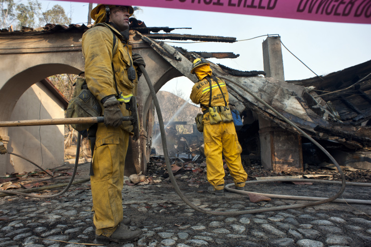 Firefighters worked to fight the Colby Fire in the mountains near Glendora on Thursday. The blaze has burned 1,952 acres as of Monday morning according to LA County Fire.