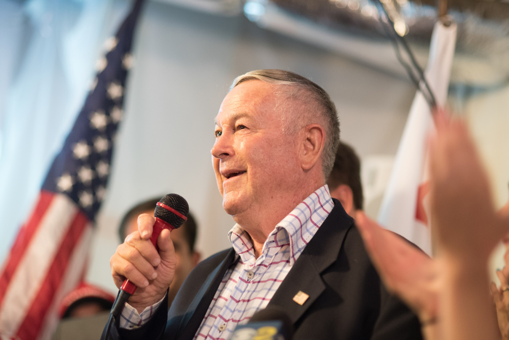 Rep. Dana Rohrabacher (R-Costa Mesa) addresses supporters at his primary election night party in Costa Mesa on June 5, 2018.