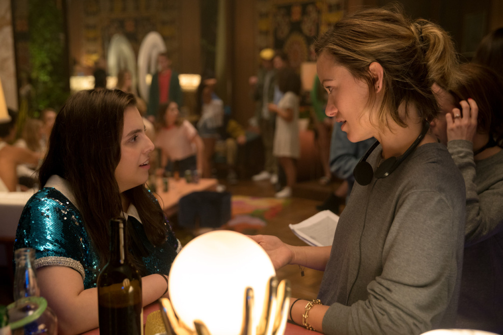 Actress Beanie Feldstein, left, and director Olivia Wilde on the set of her directorial debut,