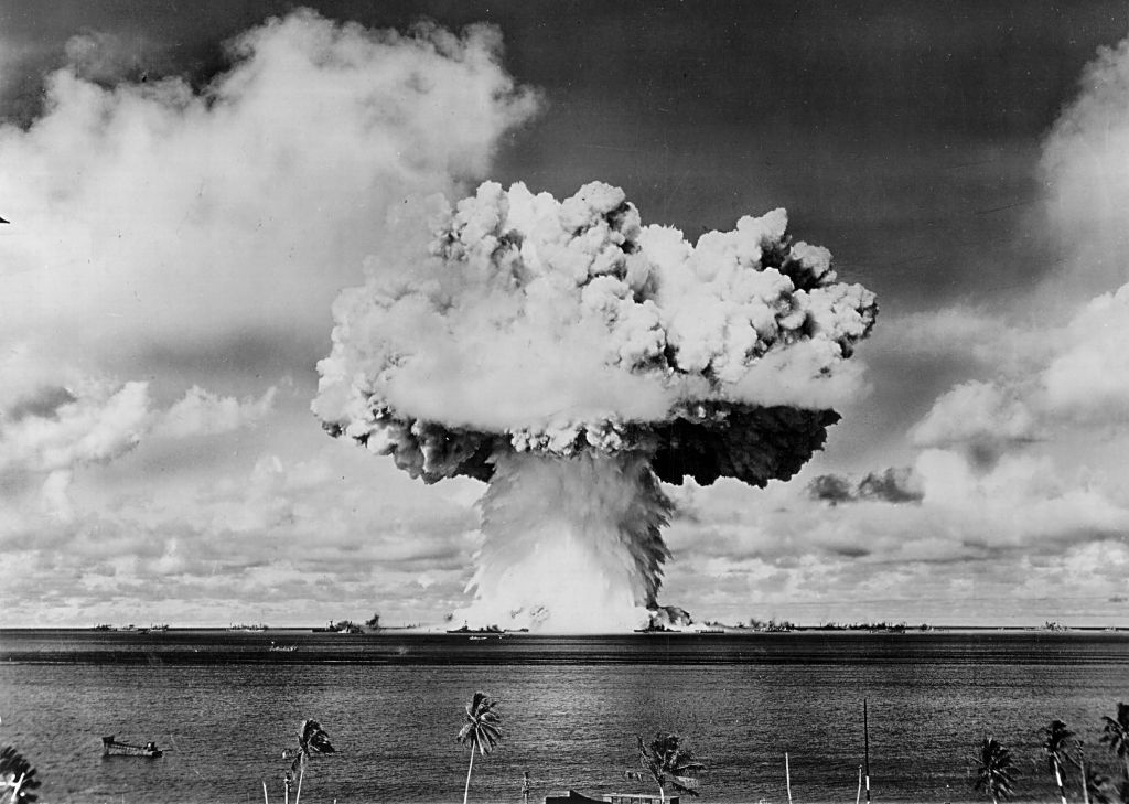 An atomic cloud rises July 25, 1946 during the 'Baker Day' blast at Bikini Island in the Pacific.