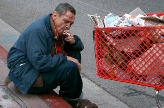 Homeless man, downtown Los Angeles, December 2005.