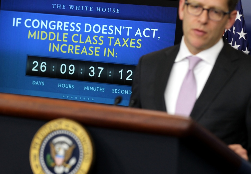 White House Press Secretary Jay Carney speaks during the daily briefing after U.S. President Barack Obama delivered a statement urging Republicans in Congress to join Democrats to ensure taxes don't go up on middle class families in the Brady Briefing Room of the White House on December 5, 2011 in Washington, DC.