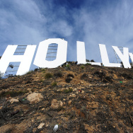 The freshly painted Hollywood Sign is seen after a press conference to announce the completion of the famous landmark's major makeover, December 4, 2012 in Hollywood, California.