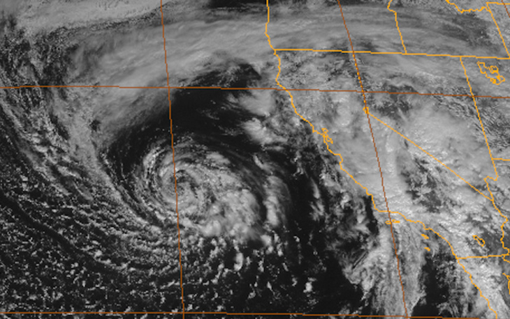 A satellite image of the storm that is responsible for several inches of rain over Southern California on Friday, February 28, 2014.