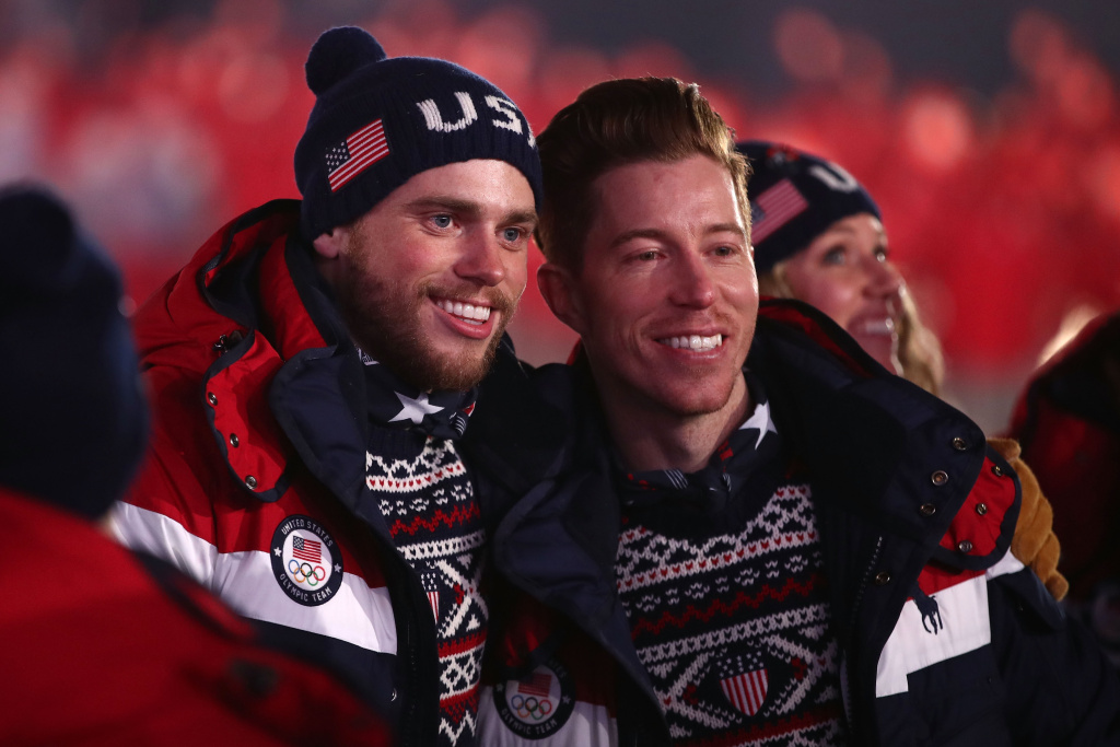 Gus Kenworthy and Shaun White of the United States enter the stadium during the Opening Ceremony of the PyeongChang 2018 Winter Olympic Games on February 9, 2018.
