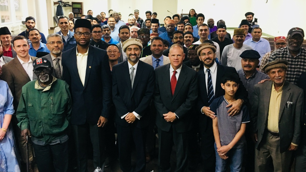 Gen. Robert Neller, front row fourth from left, at Bait-us-Samad (House of the Eternal) mosque outside Baltimore, Md., Thursday night. The Marine Corps' top general was an Iftar guest at the invitation of Marine veteran Mansoor Shams, fifth from left.