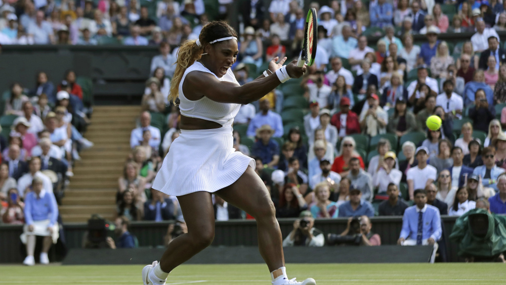 Serena Williams plays against Italy's Giulia Gatto-Monticone in a women's singles match at Wimbledon on Tuesday.