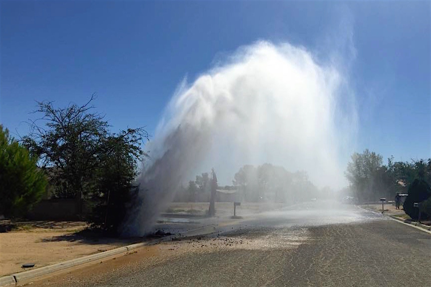 One of the many dramatic water line breaks in California City.