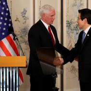 (L to R) U.S. Vice President Mike Pence shakes hands with South Korean acting president and prime minister Hwang Kyo-ahn during their joint press conference on April 17, 2017.