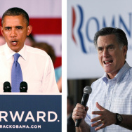 US Presidential candidates Barack Obama (L) and Mitt Romney (R). Polls show President Obama leading Romney in swing states.